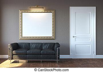 levend, moderne kamer, nieuw, sofa
