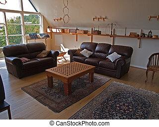levend, moderne, klassiek, familie kamer