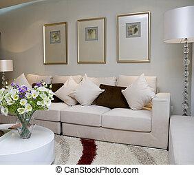 levend, moderne, luxe, kamer