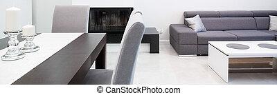 levend, moderne, ontworpen, kamer