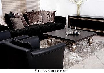 levend, moderne tijdgenoot, kamer, sofa