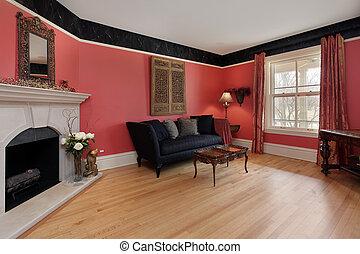 levend, muren, kamer, rood