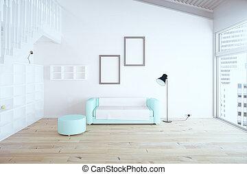 levend, ontwerp, kamer