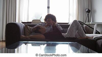 levend, paar, lesbische , romancing, kamer