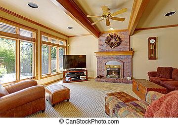 levend, plafond, kamer, balken, baksteen, openhaard