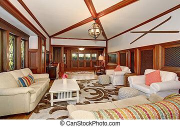 levend, plafond, kamer, bruine , houten, balken, gewelfd, luxe, interieur, trimmings