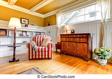 levend, plafond, kamer, goud, walls., stoel, rood