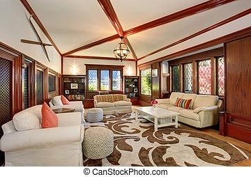 levend, plafond, meubel, kamer, balken, built-in, gewelfd, luxe, interieur