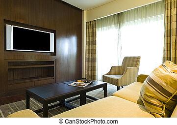 levend, seating, kamer, luxe, gebied
