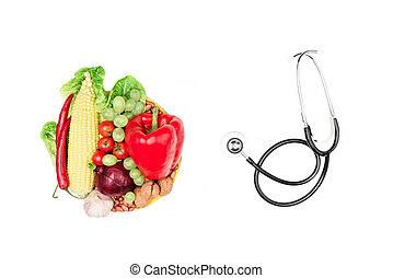 levend, set, eten, verse grostes, gezonde , vruchten, vrijstaand, concept, stethoscope, witte , gevarieerd