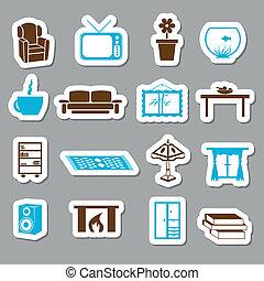 levend, stickers, kamer