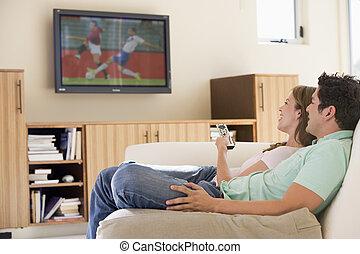 levend, televisie, paar, kamer, schouwend