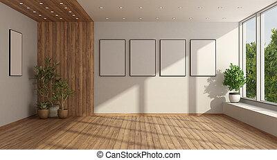 levend, venster, lege, minimalist, kamer, groot