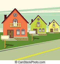 levend, verkoop, huisen