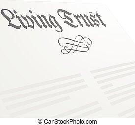levend, vertrouwen, brief