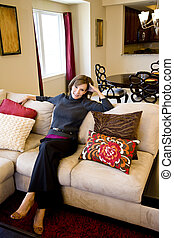 levend, vrouw, kamer, relaxen, sofa, middelbare leeftijd