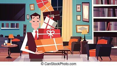 levend, wandelende, concept, kamer, cadeau, door, kadootjes, dozen, stapel, vasthouden, thuis, vakantie, man
