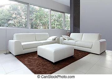 levend, wite kamer, nieuw
