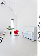 levend, witte , piano, kamer