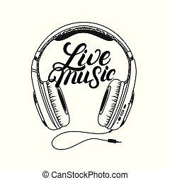 levende, hovedtelefon, tee, skriv, musik, hånd, lettering., print.