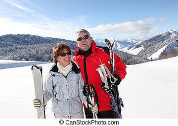 levendig, ouwetjes, op, ski