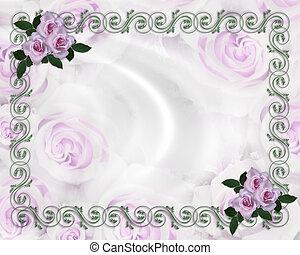 levendula, agancsrózsák, esküvő invitation