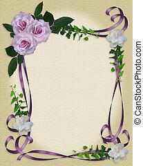 levendula, agancsrózsák, esküvő invitation, határ