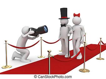 levensstijl, -, beroemdheden, verzameling, rood tapijt