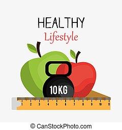levensstijl, design., gezonde
