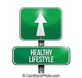 levensstijl, gezonde , illustratie, meldingsbord, ontwerp, straat