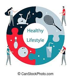 levensstijl, gezonde , mensen., app., sport., fitness