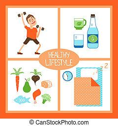 levensstijl, illustratie, gezonde