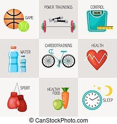levensstijl, set, iconen, concept, gezonde