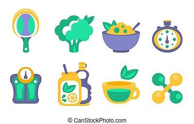 levensstijl, tafel, dumbbells, voedingsmiddelen, stopwatch, broccoli, iconen, toevoegsel, communie, set, illustratie, schalen, racket, vector, dieet-, tennis, vitamine, fitness, sportende, gezonde
