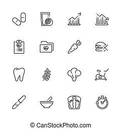 levensstijl, -, vector, gezonde , plat, iconen