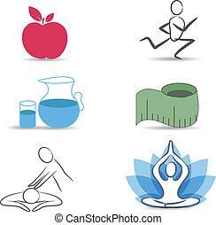 levensstijl, verzameling, symbool, gezonde