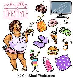 levensstijl, vrouw, -, ongezonde
