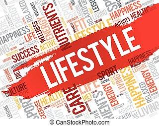 levensstijl, wolk, woord, fitness