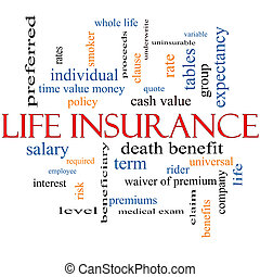 levensverzekering, woord, wolk, concept