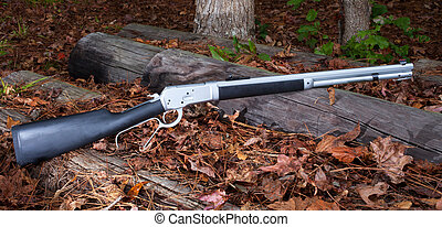 Lever action rifle - Stainless steel lever action rifle on...