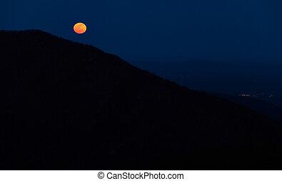 lever lune, sur, les, montagnes appalachiennes, depuis,...