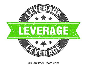 leverage round stamp with ribbon. label sign - leverage ...