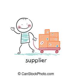 leverancier, goederen, kar, wandelingen