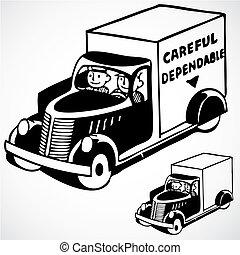 leverans, årgång, vektor, lastbil
