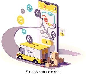 leverans, app, vektor, service, illustration