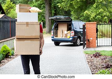 leverans, bärande, stack, man, kolli