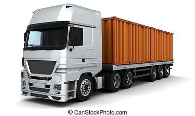 leverans, behållare, gods, fordon