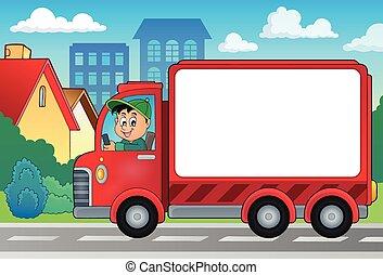 leverans, bil, tema, avbild, 4