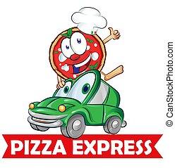 leverans, bil, uttrycka, tecknad film, pizza