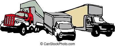 leverans, frakt, vektor, lastbil, /